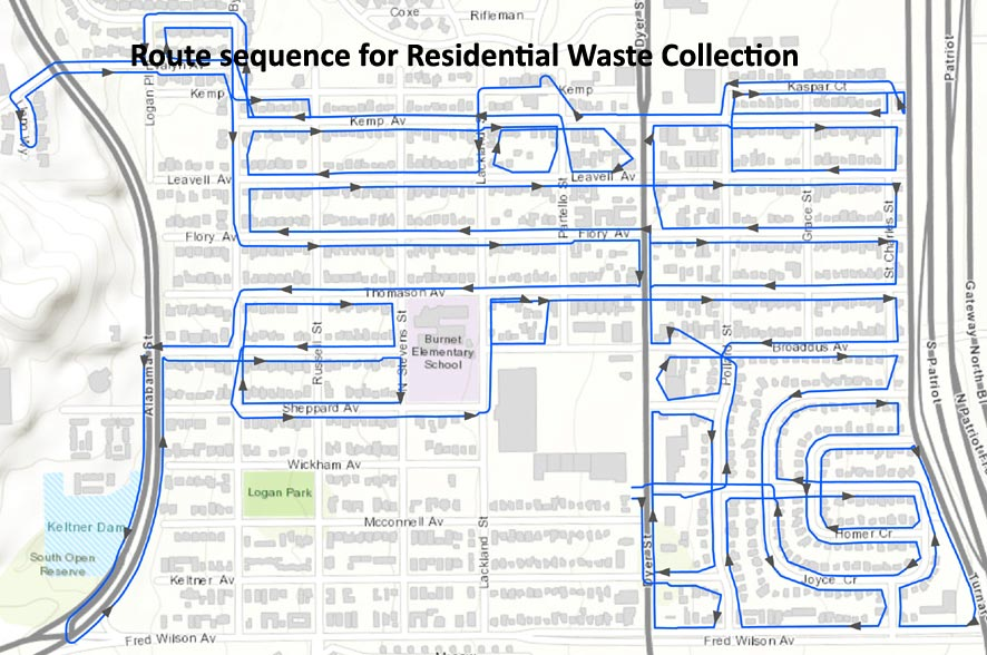 Optimized sequence for waste collection route